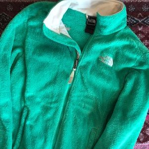 Green {The North Face} Fuzzy Full Zip